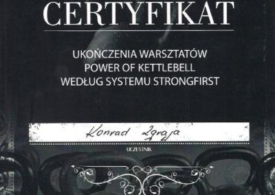 Certyfikat Ukończenia Warsztatów Power Of Kettlebell Według Systemu Strongfirst