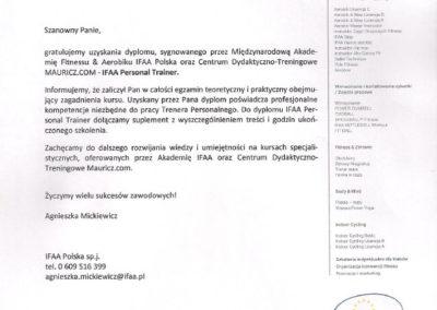 Dyplom Międzynarodowej Akademii Fitness & Aerobiku  IFAA Polska