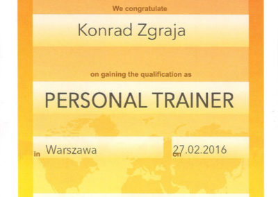 Certyfikat International academy for fitness, wellness and health (IFAA) - Personal Trainer