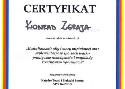 Certyfikat - Kształtowanie siły i mocy mięśniowej oraz suplementacja w sportach walki