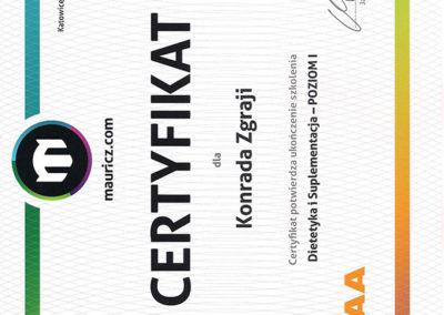 Certyfikat - Dietetyka i Suplementacja - Poziom I