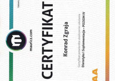 Certyfikat - Dietetyka i Suplementacja - Poziom IV