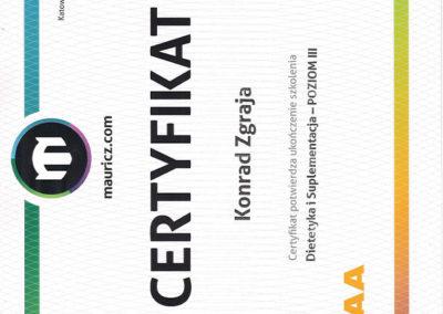 Certyfikat - Dietetyka i Suplementacja - Poziom III