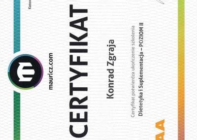 Certyfikat - Dietetyka i Suplementacja - Poziom II