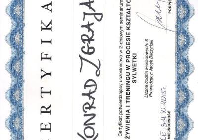 Certyfikat - Rola Żywienia i Treningu w Procesie Kształtowania Sylwetki